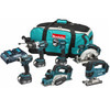 Makita DLX6012PM 18v Cordless 6 Piece Power Tool Kit with 3 Li-ion Batteries 4ah with 2 Extra Batteries 3ah